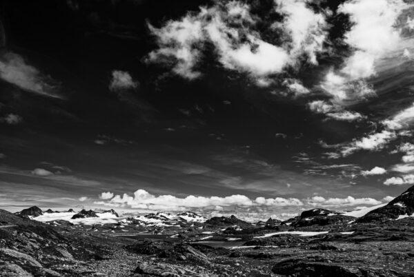 Schwarzweißfotografie, Jotunheimen - Landschaftsbild - Wandbild Norwegen