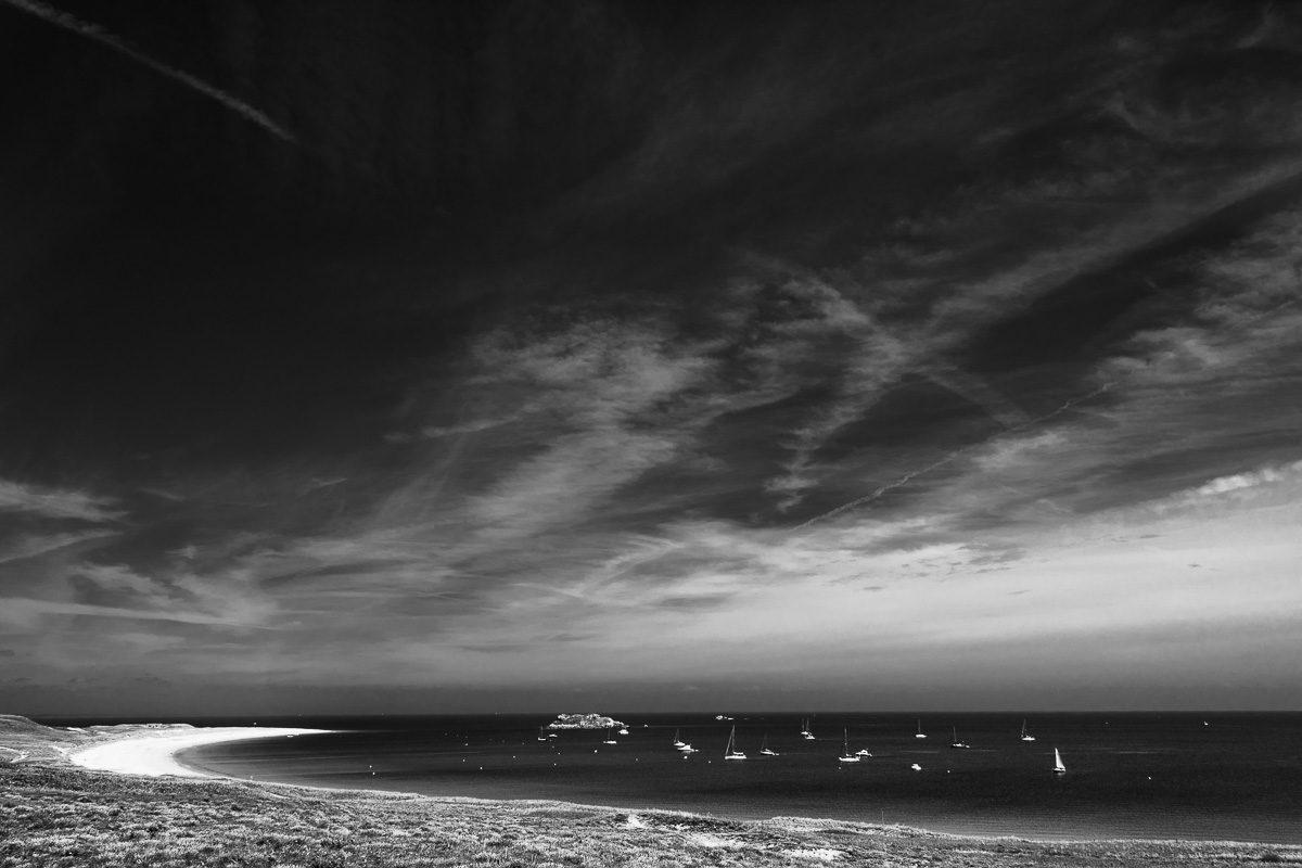 Schwarzweißfotografie Segelboote - Île-d'Houat , Bretagne