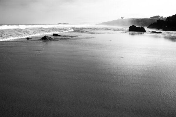 Schwarzweißfotografie wilde Atlantikküste - Sines Portugal