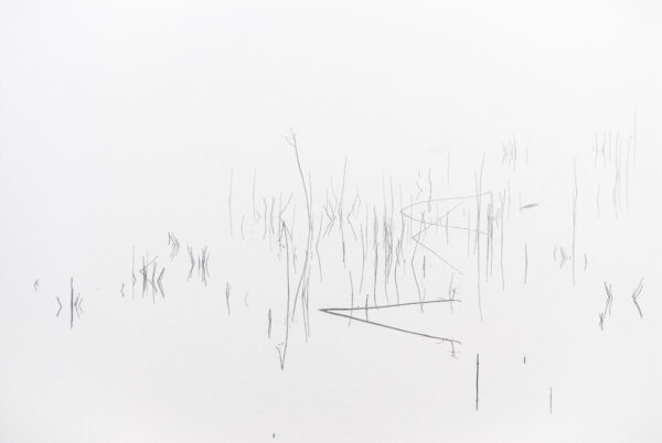 Abstraktes Wandbild – Gräser Wasserspiegelung – Nebelstimmung am See